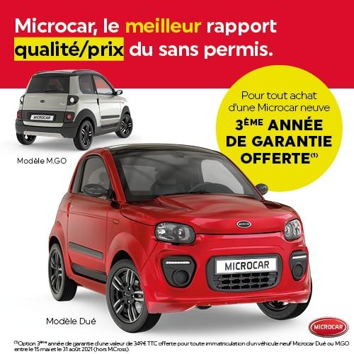 3ème année de garantie offerte - achat véhicule Microcar